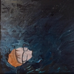 Self-portrait as drowning Syrian woman.