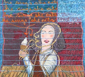 He sings, she eats, mixed media on cardboard; 2006